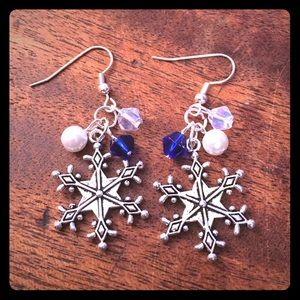 Jewelry - Handmade Sparkling Snowflake Earrings Blue Opal